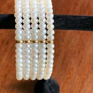 Ross-Simons Jewelry - Cultured Pearl Cuff Bracelet with Gold 5 mm pearls